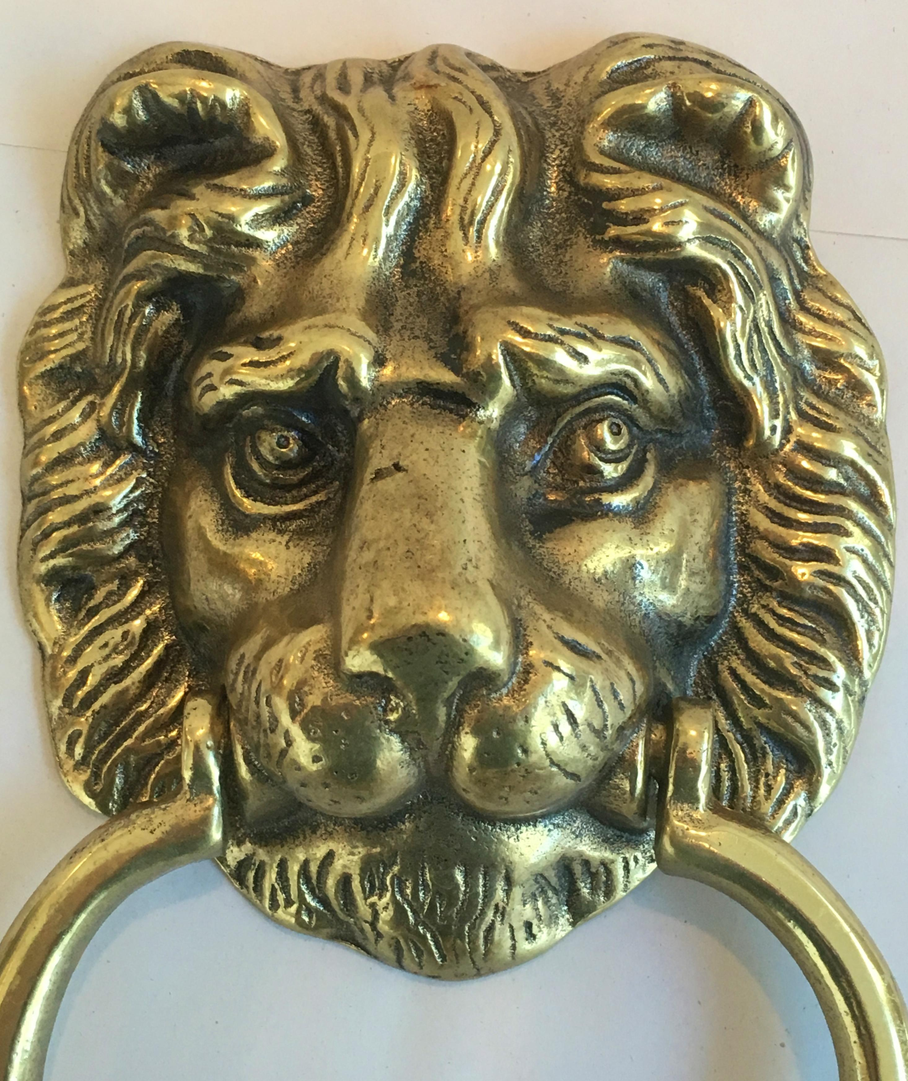 Vintage English Brass Lion Door Knocker With Strike Button   Image 4 Of 9