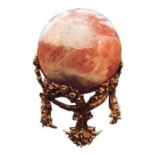19th C. Gilded Bronze Base With Pink Quartz Ball For Sale