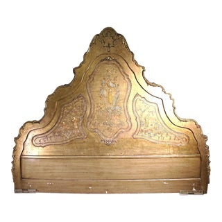 Chinoiserie Asian Style King Size Headboard For Sale