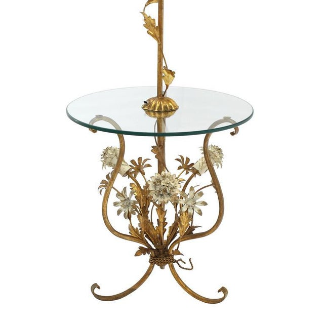 Glass Decorative Gilt Metal Floor Side Table Lamp For Sale - Image 7 of 9
