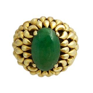 Vintage 14k Gold Jade Cocktail Ring For Sale