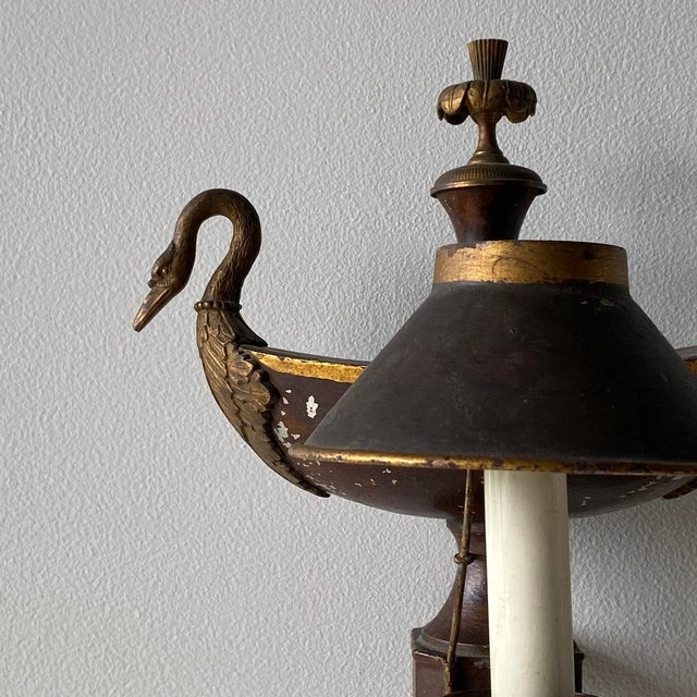Pair of Empire Tole Wall Lamps For Sale - Image 4 of 5