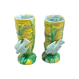 Antique Reed & Bird Vases - a Pair For Sale