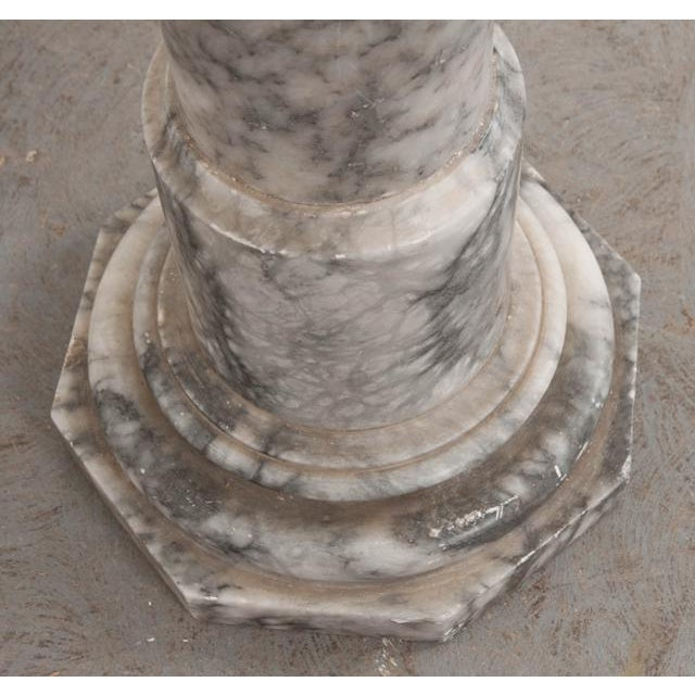 French 19th Century Grey-And-White Marble Pedestal For Sale - Image 10 of 11