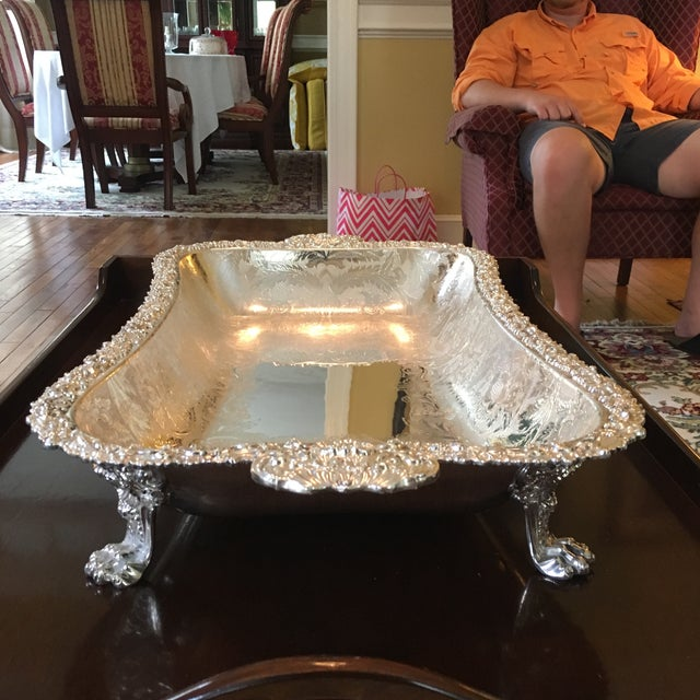 Silver Barker Ellis Hand Applied Silver Tray For Sale - Image 8 of 13