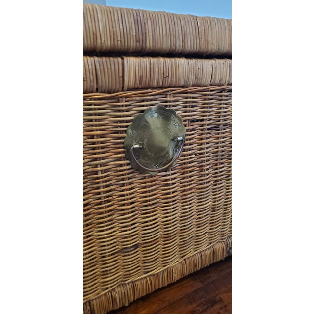 Boho Chic Vintage Wicker Rattan Trunk For Sale - Image 3 of 13