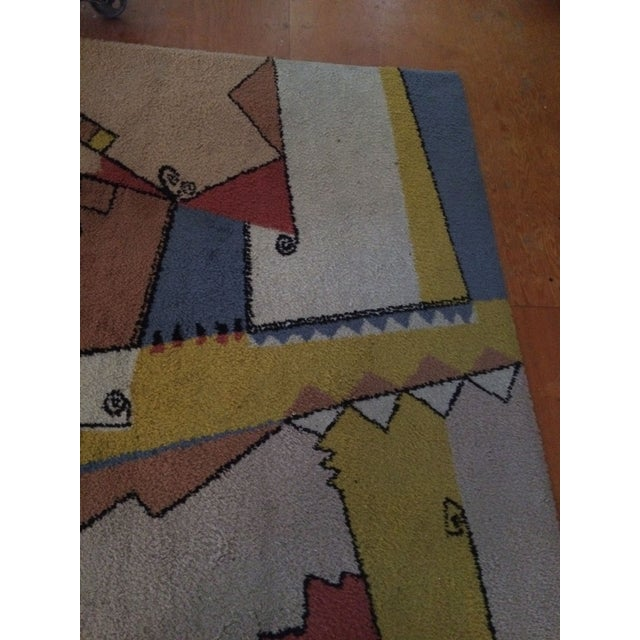 "Textile Vintage Mid-Century Abstract Area Rug - 7'6""x5'5"" For Sale - Image 7 of 8"