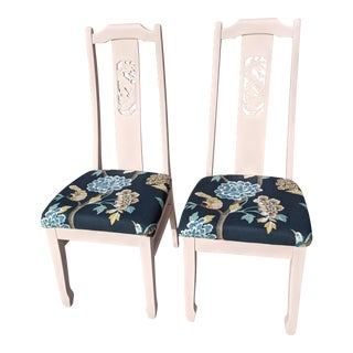 A Pair- Blush Pink Chinoiserie Chairs With Bird and Floral Upholstery For Sale