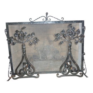 Vintage Wrought Iron Andirons and Screen For Sale