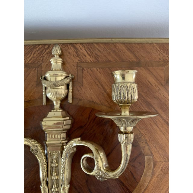 Vintage Brass Neoclassical Style Candle Sconce For Sale - Image 4 of 7