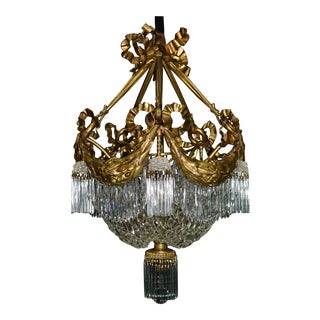 Antique chandelier, gilt bronze and crystal For Sale