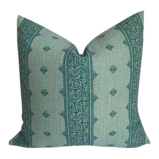 Fez Teal Linen Pillow Cover For Sale