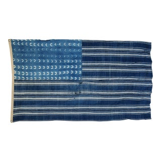 "Boho Chic Indigo Blue & White Flag From African Textiles 62"" X 37"" For Sale"