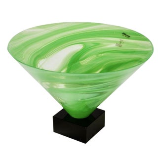 AV Mazzega Green Swirl Murano Glass Bowl Form Vase on Base For Sale