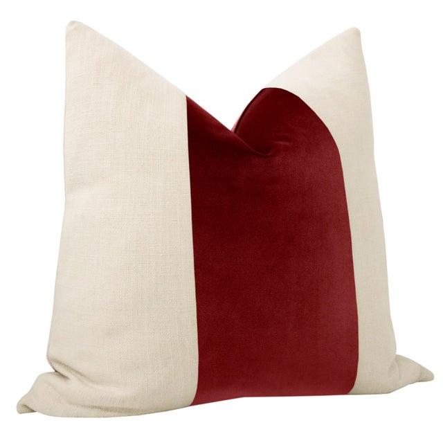 "Contemporary 22"" Crimson Velvet Panel & Linen Pillows - a Pair For Sale - Image 3 of 5"