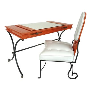 Italian Orange Lacquer Wrought Iron Desk & Chair - 2 Pieces For Sale