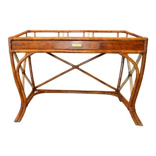 Boho Chic Vintage Handcrafted Bamboo Desk, Writing Desk With Drawer & Glass Top For Sale