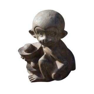Chinese Small Oriental Monkey With Ingot Stone Figure For Sale