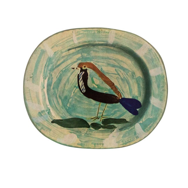 1955 Pablo Picasso Polychrome Bird Ceramic Plate, Original Period Swiss Lithograph For Sale
