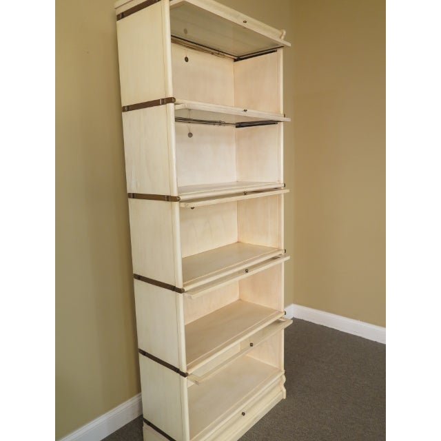 Transitional 1990s Transitional Globe-Wernicke White Decorated Stack Barrister Bookcase For Sale - Image 3 of 13