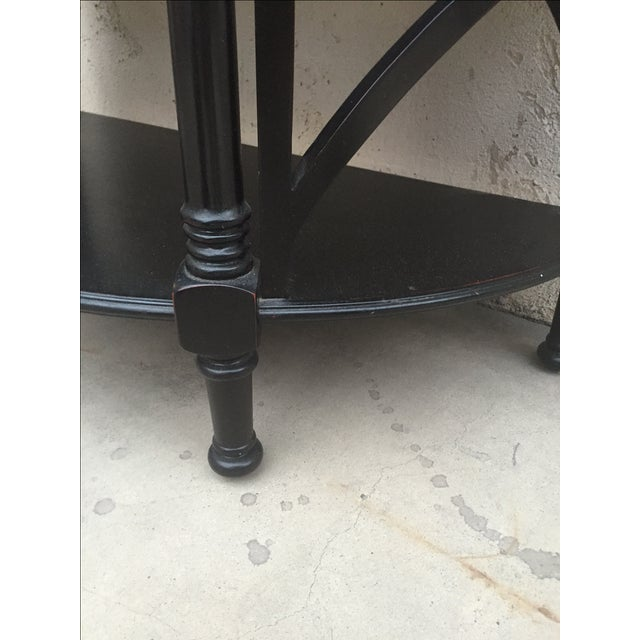 Black Wood Bamboo Style Demilune Entry Table - Image 6 of 7