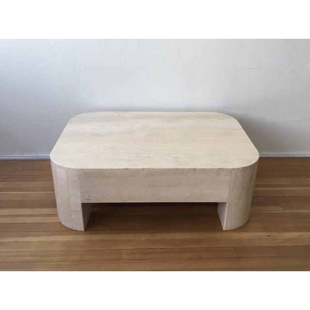 Mid-Century Modern Polished Italian Travertine Cocktail Table For Sale - Image 3 of 9