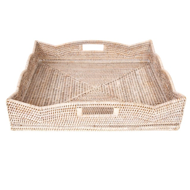 Artifacts Rattan Scallop Collection Square Tray For Sale - Image 4 of 6