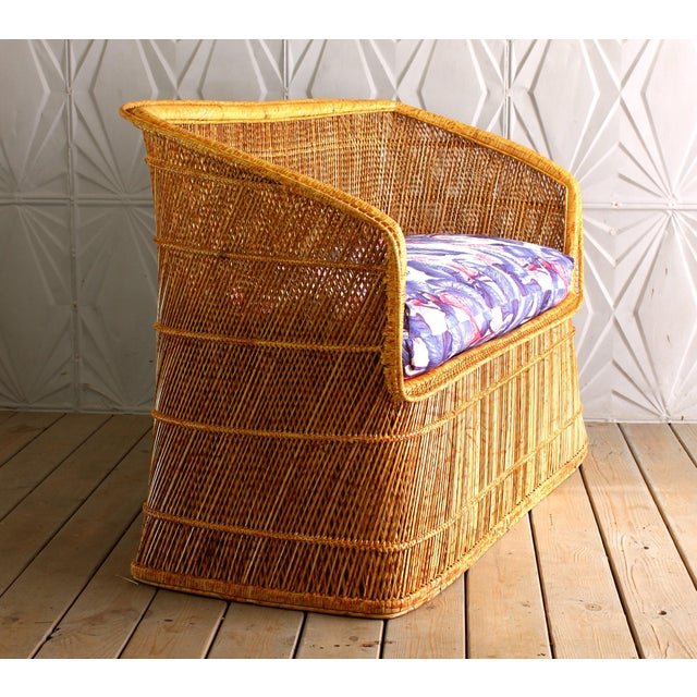 Boho Chic 1970s Boho Chic Wicker Rattan Peacock Style Sofa Settee For Sale - Image 3 of 6