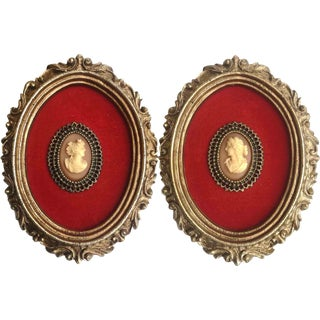 Vintage Neoclassical Framed Shell Cameos - a Pair For Sale