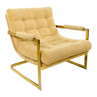 Brass Frame Milo Baughman Style Scoop Chair