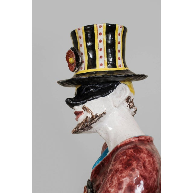 19th Century Italian Majolica Harlequins - Set of 2 For Sale - Image 9 of 11
