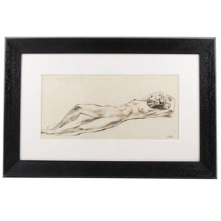 French Robert Cami 1950s Mid-Century Ink Wash Drawing Lying Nude Woman