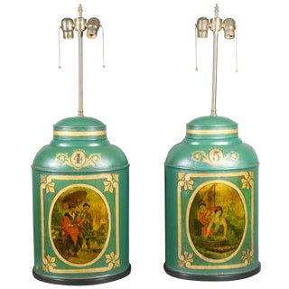 Pair of Victorian Tole Tea Canister Table Lamps For Sale