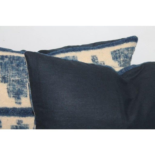 Textile Pair of Handwoven Indigo Alpaca Pillows For Sale - Image 7 of 7