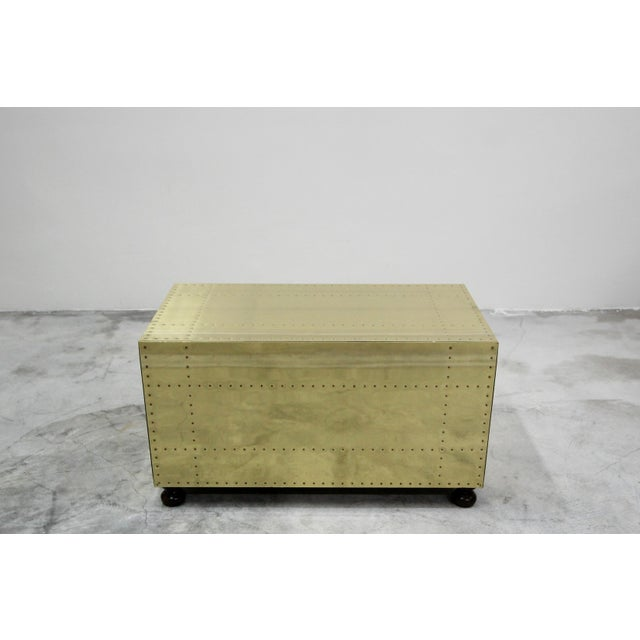 Sarreid Ltd. Vintage 2 Drawer Brass Studded Coffee Table Chest Made in Spain by Sarreid For Sale - Image 4 of 7