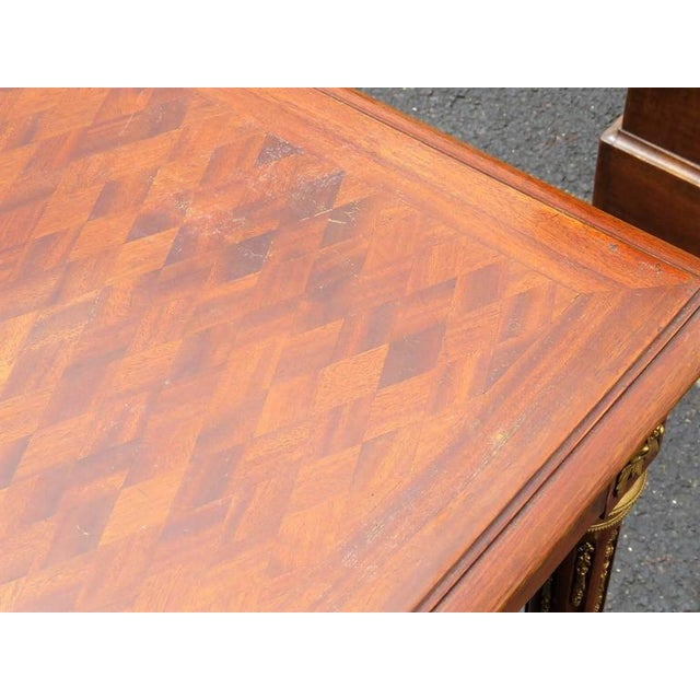 Brass Louis XV Style Parquetry Inlaid Ladie's Desk For Sale - Image 7 of 8