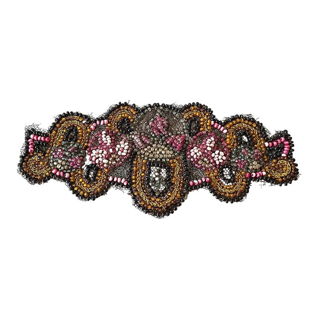 Antique Beaded Embroidered Applique - Image 1 of 5