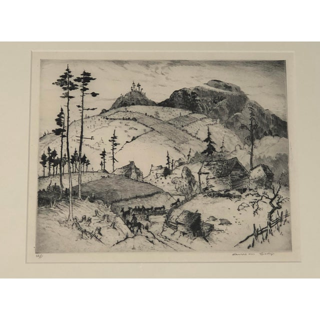 """Country """"Mountain Farms Near Spruce Pine, North Carolina"""" Etching by Harrison Cady For Sale - Image 3 of 13"""