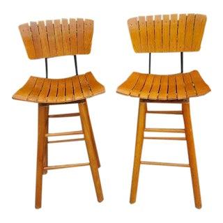 Arthur Umanoff Mid-Century Slat Seat Bar Stools - a Pair
