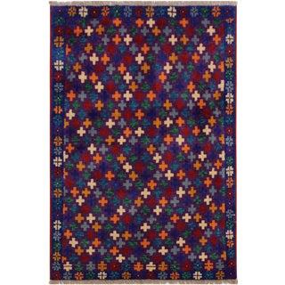 1990s Vintage Balouchi Alejandr Purple/Blue Wool Rug - 3′3″ × 4′10″ For Sale