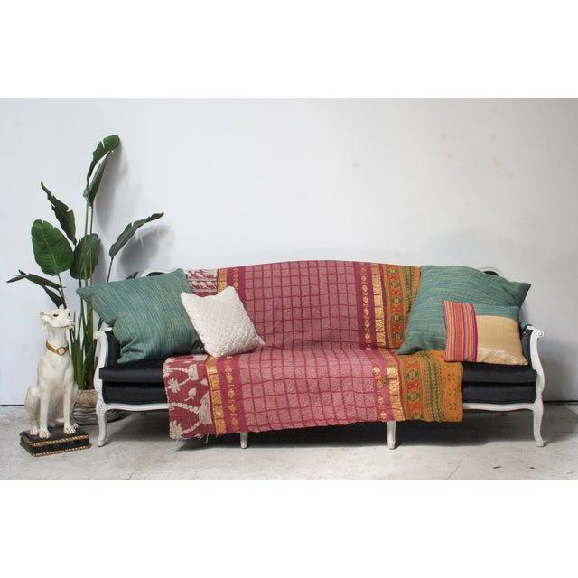 Antique Louis Canapé Black Velvet Sofa - Image 8 of 10
