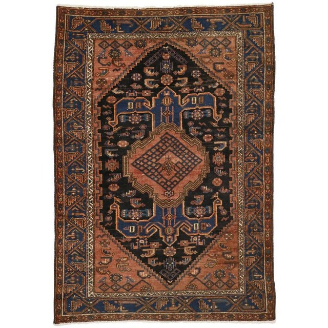 Textile Antique Persian Hamadan Rug with Modern Tribal Style For Sale - Image 7 of 7