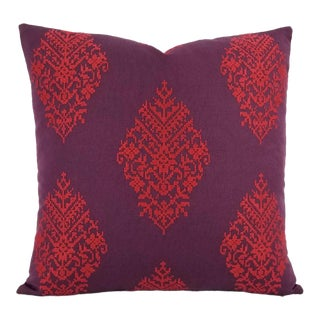 F. Schumacher Zinda Embroidery Berry Pillow Cover For Sale