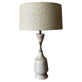 Mid-Century Ceramic Walnut Lamp For Sale