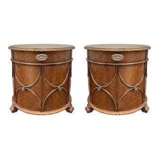 The Platt Collections Round Accent Chests or Nightstands - a Pair For Sale