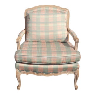Vintage French Country Sam Moore Blue & Pink Plaid Accent Arm Chair Feathers For Sale