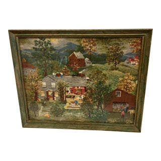 1950s Vintage Farm & Country Village Scene Print on Fabric For Sale