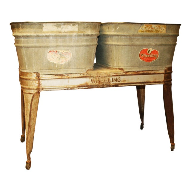 Vintage Wheeling Galvanized Double Wash Tub Stand For Sale