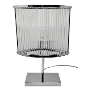 Art Deco Style Lillian August Chrome and Crystal Table Lamp For Sale