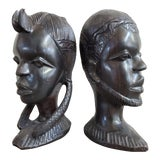 Image of African Ebony Wood Male & Female Busts, a Pair For Sale